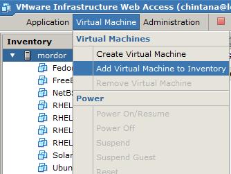 Adding a virtual machine to inventory