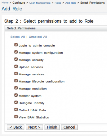Select Role Permissions Screen