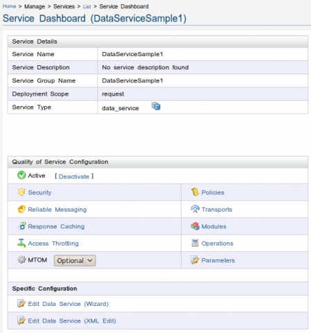 Service DashboardService Dashboard