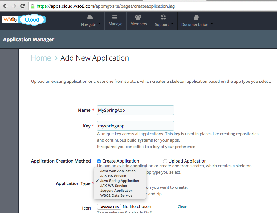 Selecting Spring application type in WSO2 App Cloud PaaS