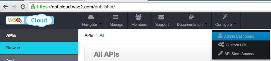 API Cloud Admin Dashboard menu
