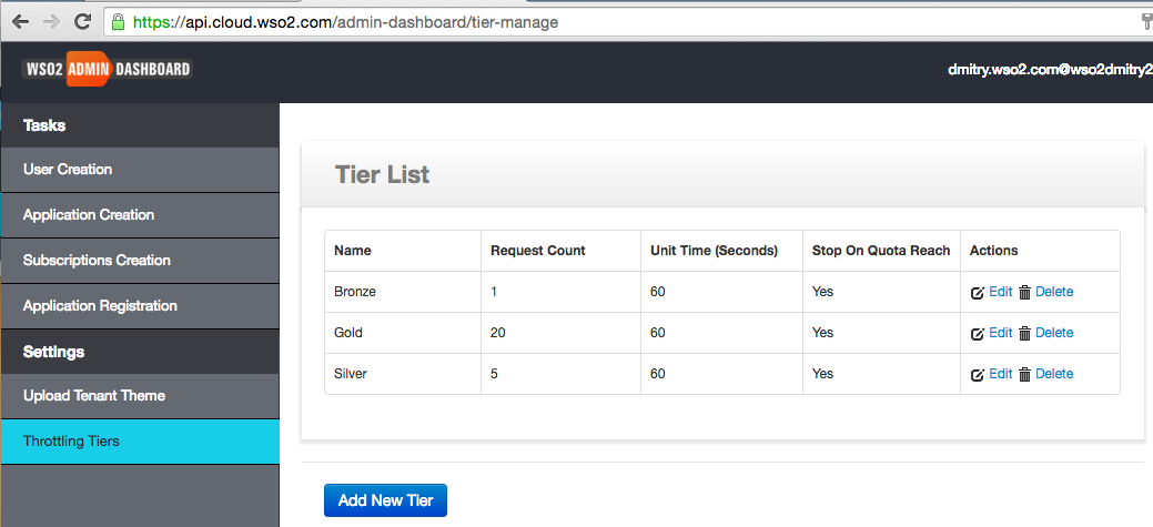Admin Dashboard - Throttling Tiers