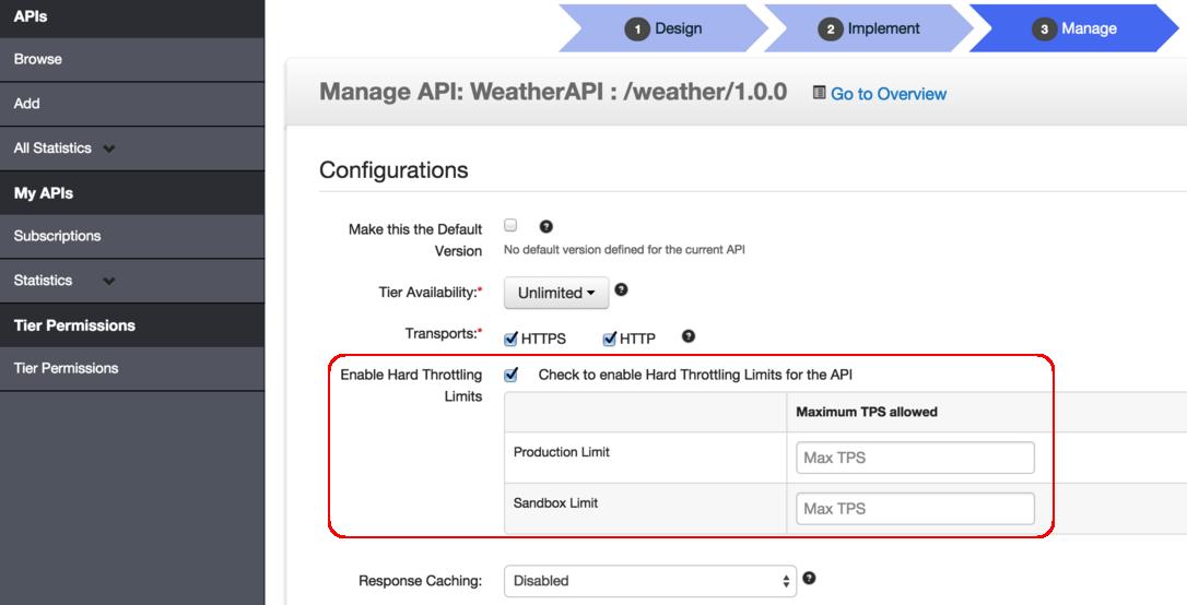 API backend hard throttling limits