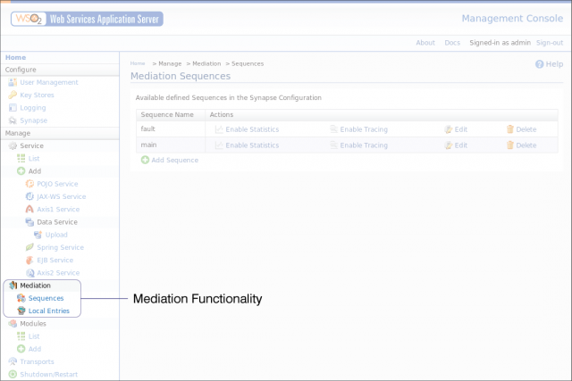 WSAS Administration Console with mediation